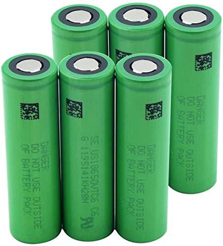 Green Us18650 Vtc6 3.7v 3000mah Batería de Repuesto de batería de Iones de Litio de Litio para Faros de Banco de energía 6 Piezas-6 Piezas