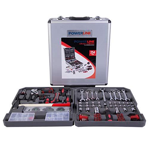 Werkzeugkoffer bestückt Trolley mit Werkzeug gefüllt | 254 teilig | mit Rädern und Teleskopgriff...
