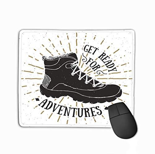 Mauspad Vintage Label Grunge Strukturierte Hand Gezeichnete Retro Abzeichen Typografie Design Wanderschuh Trekking Boot Rechteck Gummi Mousepad