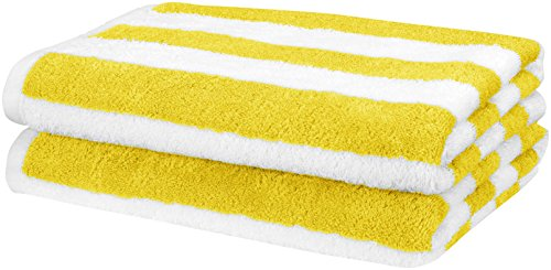 Amazon Basics - Toalla de playa, de rayas Cabana, color amarillo, pack de 2