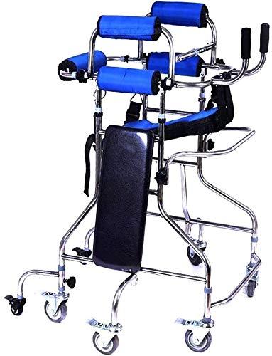 SJZLMB Andadores para Ancianos Marco de Caminar con Ruedas Ancho de Altura Plegable Ajustable con Soporte Doble de axila y función de Freno 8-Redondo Adulto Walker