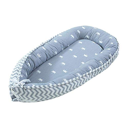 QDQBaby Nest, Baby Lounger Pillow, Cuddly Nest Baby Nest Cotton Baby Bassinet Lounger Cribs, Portable Cot Removable - for Bedroom Travel1QDQ