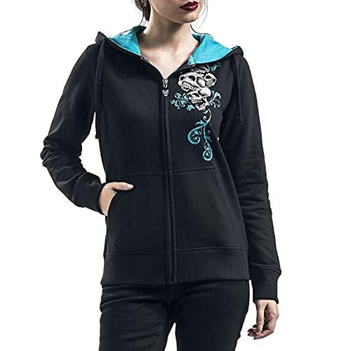 Women Skull Graphic Printed Hoodie Coat Full Zip Long Sleeves Hooded Jackets Streetwear