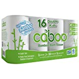 Caboo Tree-Free Bamboo Toilet Paper, Septic Safe Biodegradable Bath Tissue, Eco Friendly Soft 2 Ply Sheets, 300 Sheets Per Roll, 16 Double Rolls