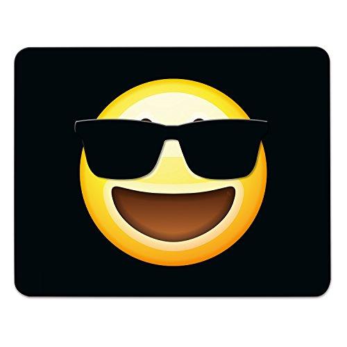 Voeg dit muismat emoji/emoticons. Zeer mooie muismat motief in fijne cellofaan geschenkverpakking met rubber ondermateriaal, zwart, 240mm x 190mm, zonnebril met motief.