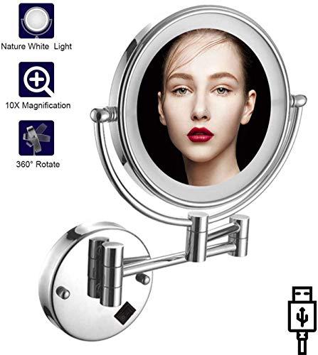 Relación calidad-precio La pared del LED montado en espejo de maquillaje 1x / 10x de aumento, de 8 pulgadas de doble cara 360deg;Giratoria Espejo de baño for el baño, acabado en cromo, recargable USB