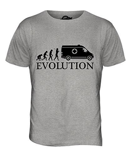 Candymix Rettungswagen Evolution des Menschen Herren T Shirt, Größe Medium, Farbe Grau Meliert