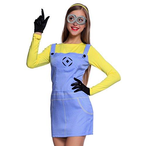 Anladia Cosplay Dress Disfraz de Minions Dave GRU Mi Vllano Vavorito Fever misiones Talla S M L para Adulto Mujer Fiesta Carnaval Temáticas (S)