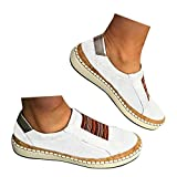 Veodhekai Womens Flat Shoes Hollow-Out Round Toe Slip On Shoes Flast Sneakers Breathable White
