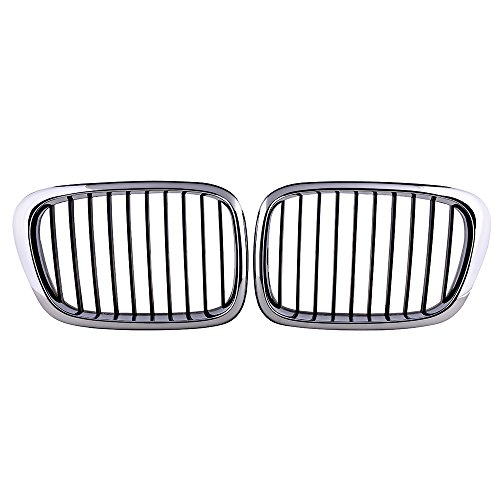 Astra-Depot 1 Pair Front Kidney Grille Grill for E39 520 523 525 528 530 535 540 M5 4-DR 1997-2003 Chrome Electroplated Frame