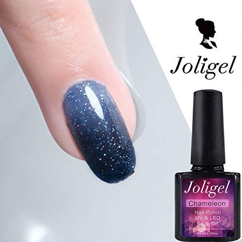 Joligel Chameleon Smalto per unghie al gel a colori che cambia colore con smalto olografico Smalto per unghie a LED UV che rinfresca unghie per unghie Design per unghie, notte stellata blu