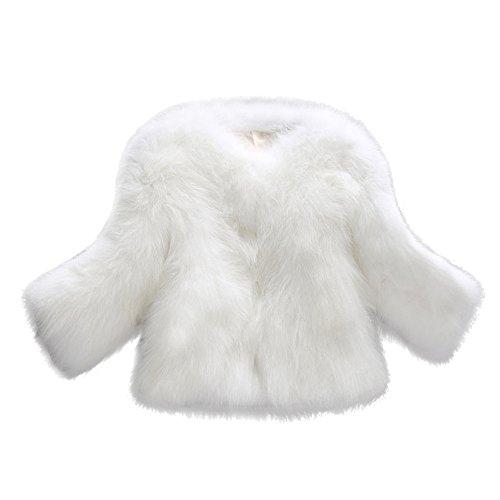 OverDose Abrigos de Mujer Elegantes Abrigo Suave y Esponjoso de Piel sintética XS/S/M/L/XL/XXL (XS, Blanco)