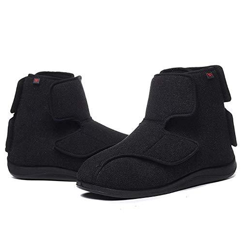 SHANGN Zapatos para Diabéticos Hombres Ancianos De Gran Tamaño Más Fertilizantes Que Ensanchan Los Zapatos De Velcro Bota Antideslizante para Edema,Black-45/275mm