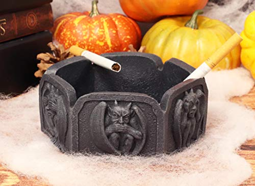 Ebros Gift 5'W See Hear Speak No Evil Gargoyles Castle Guardians Hexagon Ashtray With Celtic Knotwork Basin Figurine For Cigarette Smokers Or As Multipurpose Container For Coins Keys Jewelry