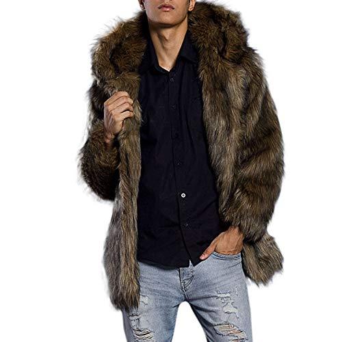 iLXHD Men's Faux Fur Trench Coat Jacket Parka Thicker Warm Outwear Cardigan Khaki