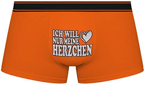 Herr Plavkin Geschenk für den Menschen | Ich Will nur Mein Herzchen | Weihnachten |orange Boxershorts