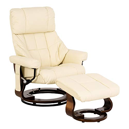MCombo Relaxsessel Fernsehsessel TV- Sessel Massagesessel mit Fußhocker, 360° drehbar, mit Seitentasche 9068 (Creme)
