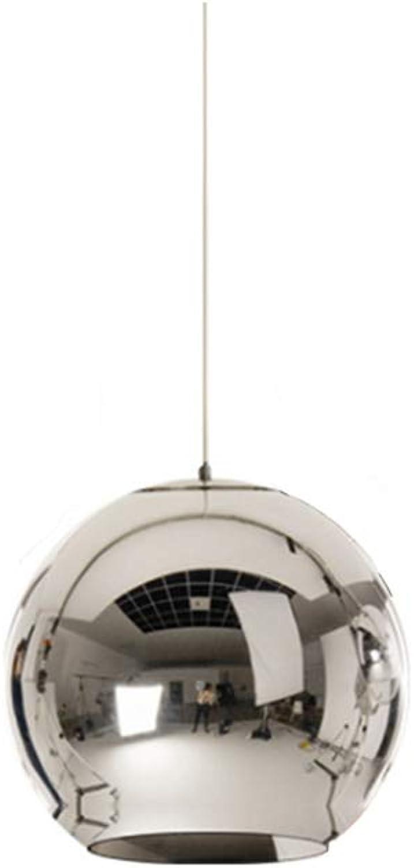 KESAI HomeDeco Moderne Pendelleuchte, Galvanik Glaskugel Hngelampe, E27 Kronleuchter Pendelleuchte für Esszimmer,Silber,20CM
