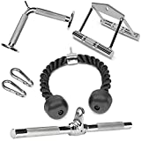 A2ZCARE Combo Tricep Press Down Cable Attachment   Multi-Option: Double D Handle, V-Shaped Bar, Tricep Rope, Rotating Straight Bar (V Handle+Tricep Rope+Rotating Bar+V-Shaped Bar)