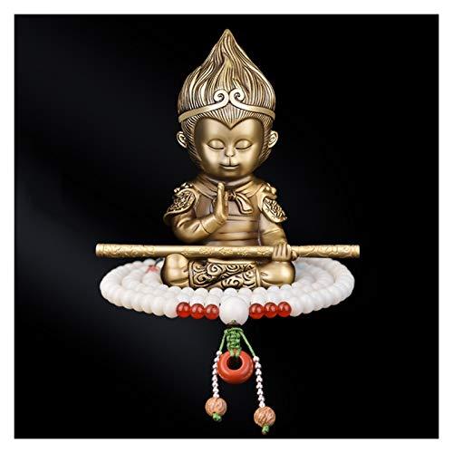 Estatua de Buda Latón estatuas budistas salpicadero regalos creativos Fengshui la estatua de Buda + pulsera de la estatua de Buda pequeño ornamento decorativo Meditación Decoración ( Color : A )