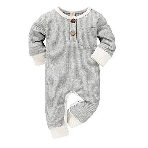 Unisex Baby Girls Boys Long Sleeve Romper Solid Color Bodysuit Jumpsuit Pants Ribbed Pajamas Clothes Set 0-18M (Gray C, 0-3 Months)