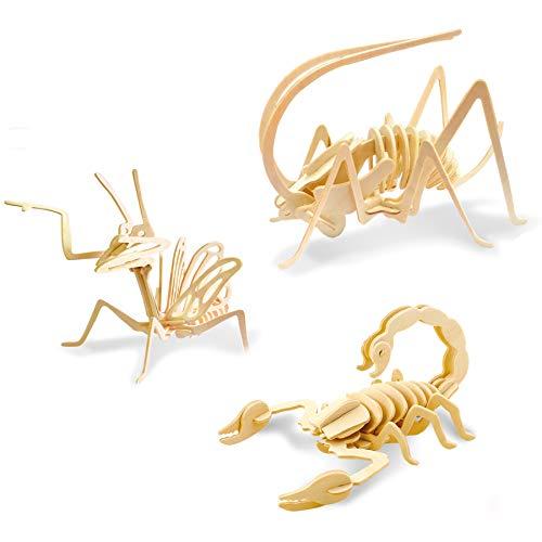 Georgie Porgy Kids Toys Construction Woodcraft Kits Wooden Model Puzzle Kits Age 5 Pack of 3 Jigsaw (Cricket Mantis Scorpion)