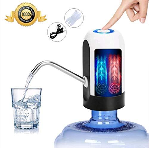 JSG Dispensador De Agua, Bomba Electrica, Automatico Carga USB, Dispositivo Universal (Beba Agua Comodamente) Color (Blanco y Negro)