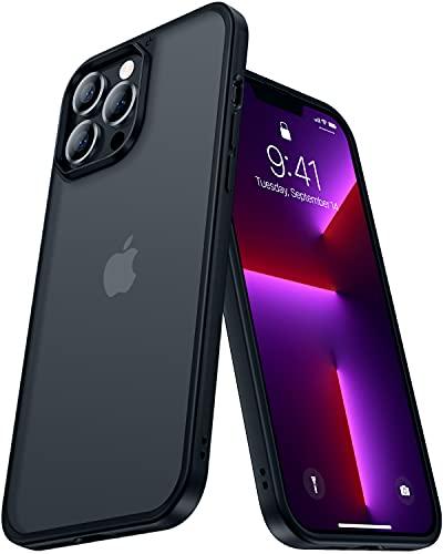 CASEKOO Matt Power Kompatibel mit iPhone 13 Pro Max Hülle 2021, [SGS-Militärschutz] Stoßfeste Handyhülle (Anti-Fingerabdruck) Kratzfeste Rutschfeste Schutzhülle (Dünn Hülle)Transluzent 6,7 Zoll-Schwarz