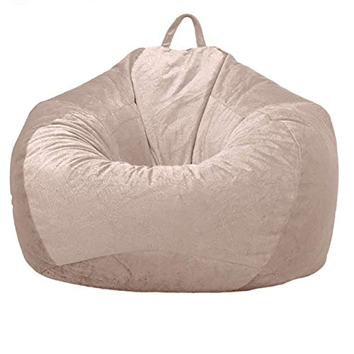 HYISHION Stuffed Object Storage Bean Bag Chair Cover (No Filler) for Kids and Adults.Soft Premium Corduroy Stuffable Beanbag for Storage Children Plush Toys or Memory Foam,Beige,L
