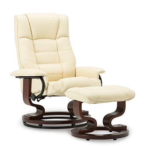 MCombo Relaxsessel mit Hocker, 360°drehbarer Fernsehsessel mit Liegefunktion, bis 130 Kg belastbarer TV-Sessel, moderner Ruhesessel für Wohnzimmer, Kunstleder, 9019 (Creme)