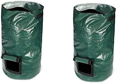 Amazing Deal Zxcv 2Pcs 80L Organic Waste Kitchen Garden Yard Compost Bag Portable Environmental PE C...