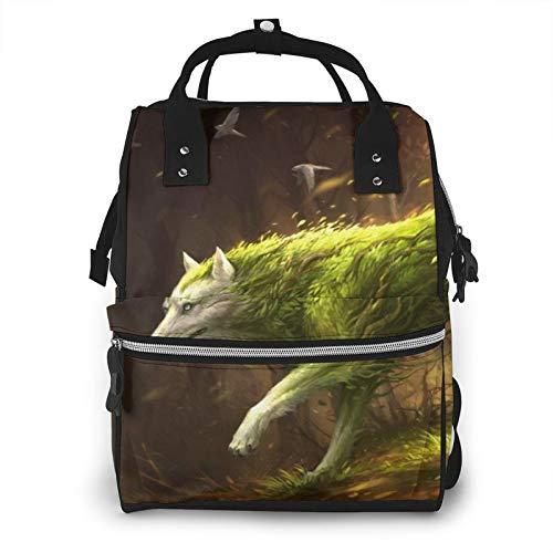 Bolsa de pañales para mamá, diseño de lobo verde, árbol, pájaro, gran capacidad, para el cuidado del bebé