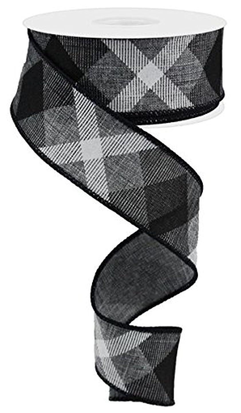 Plaid Canvas Wired Edge Ribbon, 10 Yards (Grey, Black, White, 1.5