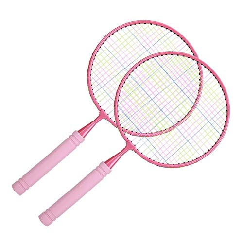 FEBT Raqueta de bádminton, Raqueta de bádminton para Exteriores, ecológica Inodoro para niños(Lotus Root Pink Round Pat Without Edge)