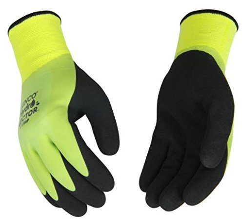 Kinco - Hydroflector Lined Waterproof Latex Work Gloves, Extra Warm 15-Gauge Acryllic Knit Shell with 7-Gauge Soft Thermal Lining, Sandy Latex Palm Grip, Fitted Knit Wrist, (Style No. 1784P)