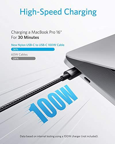 Anker New Nylon USB-C auf USB-C Ladekabel 2.0,100W Typ-C Ladekabel 3m lang,Schnellladeleistung für MacBook Pro 2020, iPad Pro 2020, iPad Air 4, Galaxy S20 Plus S9,Pixel,Switch,LG V20,und mehr(Schwarz)
