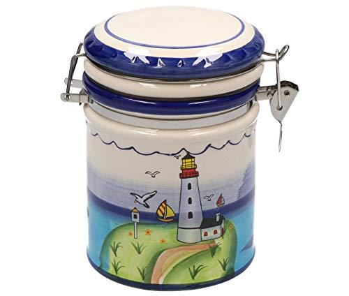 Tony Brown - Maritimes Leuchtturm Geschirr aus Keramik | mikrowellen- und spülmaschinengeeignet (Vorratsdose groß)