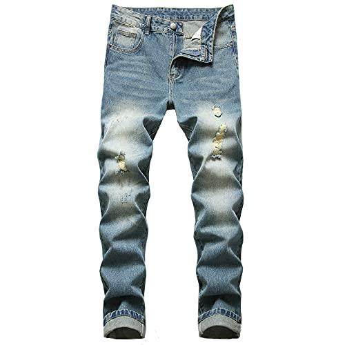 aHaBiKas Men's Ripped Jeans Slim Fit Jeans for Men (Blue LY032, 32)