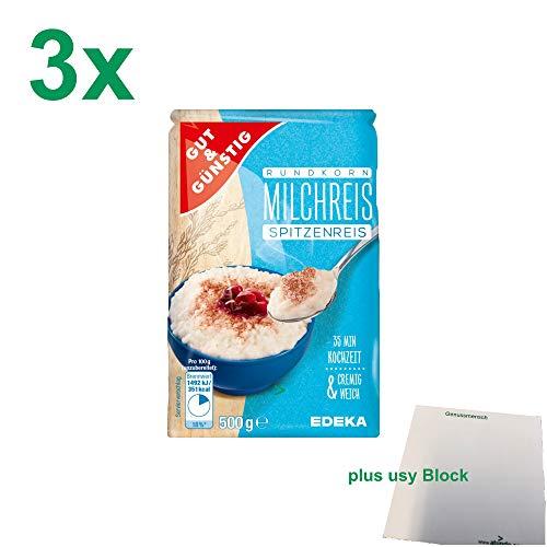 G&G Rundkorn Milchreis Spitzenreis (3x500g) + usy Block