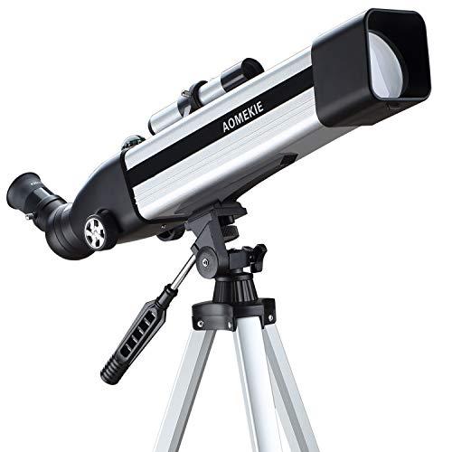 Aomekie Telescopios Astronomicos 60mm Telescopios Niños Profesional con Bolsa de Trípode Ajustable Finderscope Ajustable para Principiantes que se Utilizan para Observar el Cielo