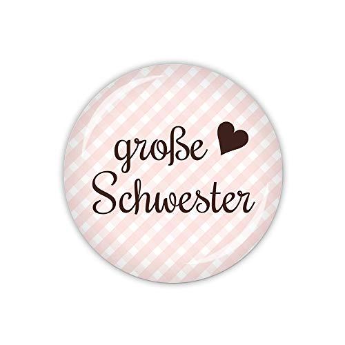 lijelove® Vichy rosa, große Schwester (Art. TA01-37) als Button, Magnet, Taschenspiegel und Flaschenöffner erhältlich (Taschenspiegel 59mm Ø)