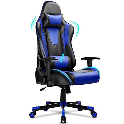 BASETBL Gaming Stuhl, Ergonomischer Gaming Sessel, PC Gamer Racing Stuhl Verstellbare Armlehne Bürostuhl Gaming Stuhl, bis 150 kg belastbar, Schwarz-Blau