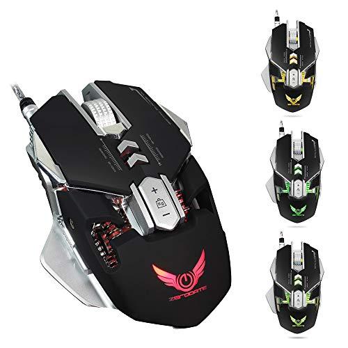 MOLINGXUAN Wired Mouse, Spiele Computer-Maus, ergonomische USB-Maus für Laptop, Fotoelektrische Auflösung 4000 DPI/justierbare Vier Gänge/Hell leuchtende mechanische Maus,Schwarz