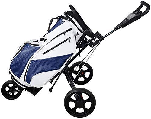 LJ Carrelli da golf, Carrello da golf Carrello da golf a 3 ruote con spinta - Carrello da golf a spinta/trazione manuale - Pieghevole nero-nero,Nero