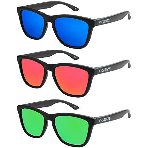 X-CRUZE 3er Pack Nerd Sonnenbrillen polarisierend Vintage Retro Style Stil Unisex Herren Damen Männer Frauen Brille - schwarz matt LW - Set H -