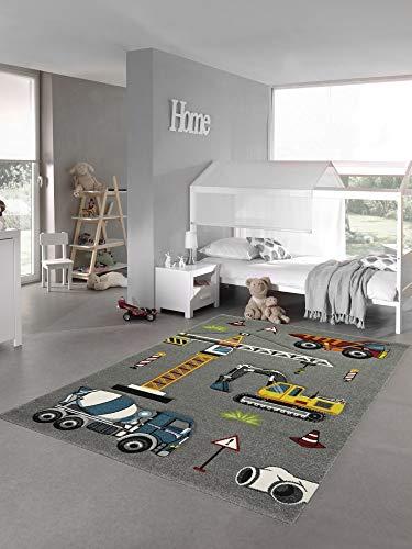 Kinderteppich Spielteppich Baustelle Teppich mit Bagger in grau Größe 140x200 cm