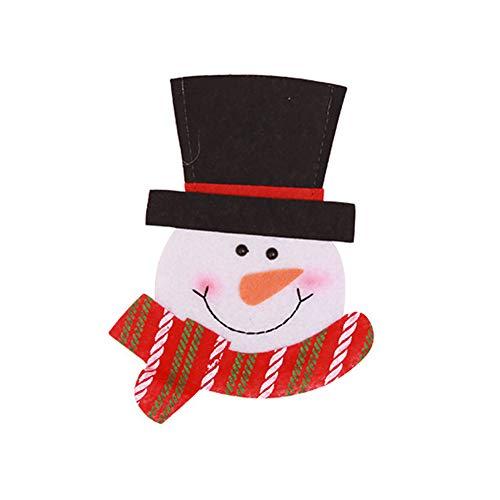 Sanwood Fourchette Coque de Noël, Père Noël Bonshommes de neige Cerf Vaisselle Coque argenterie Cuillère Poche pour dîner Décor 16 cm Snowmen 2