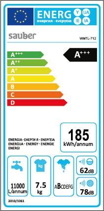 Sauber – Lavadora de carga SUPERIOR WMTL712-7,5 kg – 1200 RPM – Eficiencia energética: A+++ – Color Blanco – Motor…