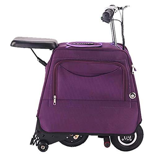 GOLDGOD Scooter Electrico, Batería De Largo Alcance De 25 Km Maleta Scooter Smart Trolley Case Puede Sentarse Viaje Llevar Equipaje Scooter Eléctrico Ultraligero,Púrpura,25KM