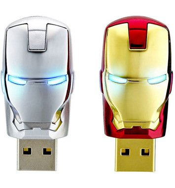 Avengers Marvel - Memoria USB (4 GB, 8 GB, 16 GB, 32 GB, 64 GB, diseño de Iron Man con luz LED (32 GB, dorado)